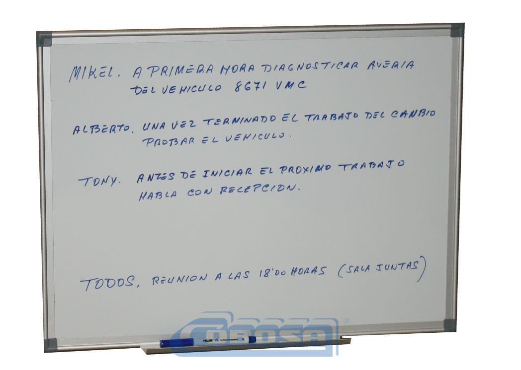 Pizarra magnética blanca. Organización taller mecánico | Cobosa